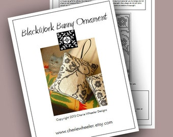 Blackwork Bunny Ornament Cross Stitch PDF Pattern