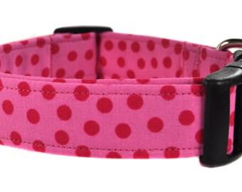 Pink Polka Dot Dog Collar - The Fiona