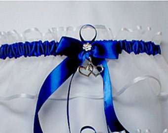 Double Heart Wedding garters ROYAL blue Garter Keep