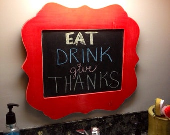 """8x10 up to 18x24"""" Shaped framed chalkboard painted to match your decor Size is for inside chalkboard dimensions SELECT size at checkout"""