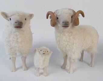 Porcelain and Wool Shetland Sheep Family Figurines