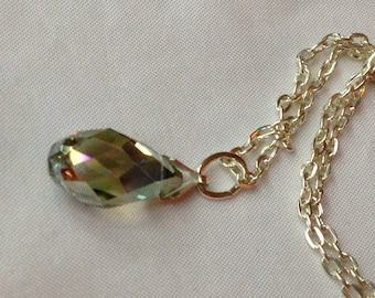 Crystal Briolette Pendant and Chain