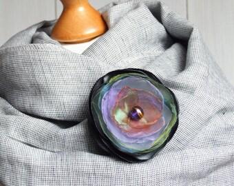 Flower Pin brooch Organza Satin handmade fabric floral brooch, fall fashion