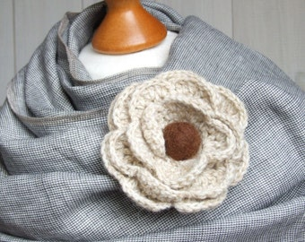 Crochet FLOWER BROOCH pin Crochetted flower coat pin, beige crocheted flower pin