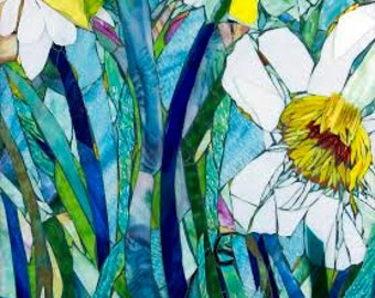 Mixed Media Mosaic, Giant Daffodils Mosaic Art, OOAC, Large Glass Art Piece