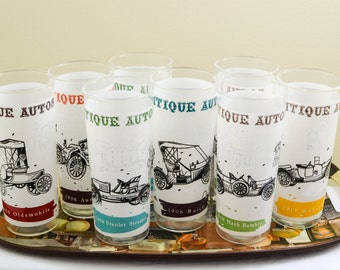 Vintage 1960s Glasses, Set of Eight Tumblers, Guy Gift, Antique Auto, Summer Party Glassware