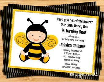 Baby Bee Birthday Party Invitation - Printable