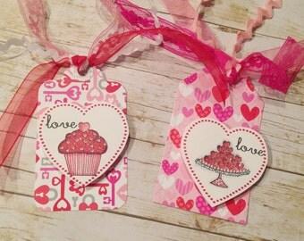 Set of 2 Handmade/Handstamped love  Valentine Gift Tags