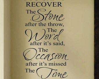 Recover Word Time, Vinyl Wall Lettering, Vinyl Wall Decals, Vinyl Letters, Vinyl Lettering, Wall Decals, Inspirational Decal, Wall Quotes