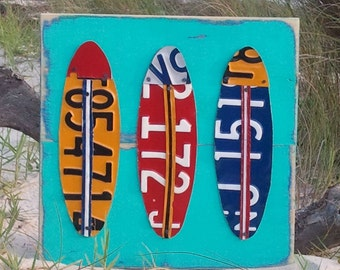Blue Red Aqua SURFBOARDS - Beach Nautical Surfing Sailing -  Nursery Bathroom Playroom - Recycled License Plate Art - Sea Life Surfer