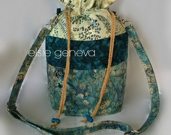 Design Your Own Choose Any Fabric in My Shop  Drawstring Tote Purse Bag Crossbody Hipster Purse or Teal / Black / Red Asain Batik