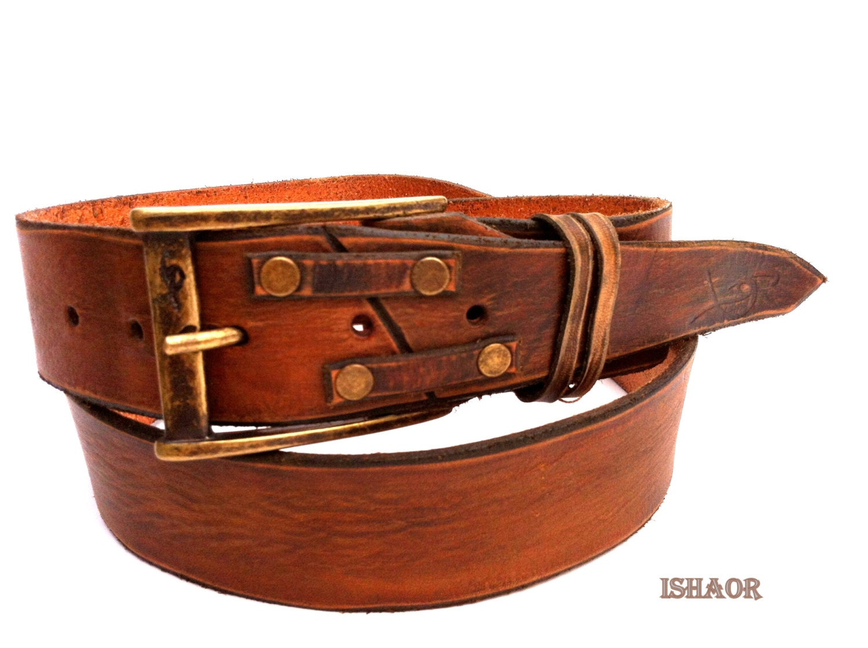 brown distressed leather belt decorative golden stud