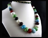 Opaque, Multi Color, Faceted Quartz Glass, Necklace, Rondelle, Graduated, 925 Sterling Silver, Jewelry, Blue, Green, White, Red, Black