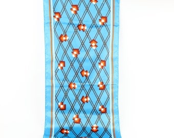 Vintage Sally Gee Blue and Orange Long Scarf