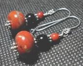 Red Jasper and Black Onyx Gemstone Earrings in Sterling