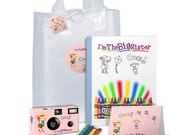 I'm The Big Sister Gift Bag in PINK -- bag full of goodies -- camera, photo album, coloring book, crayons, gift tag - can be PERSONALIZED