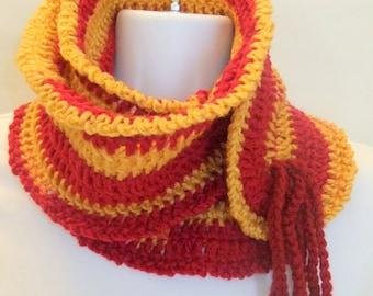 Team Scarf, Red, Gold, Scarf, Handmade Crochet, Gift, Teen, Women, Fashion