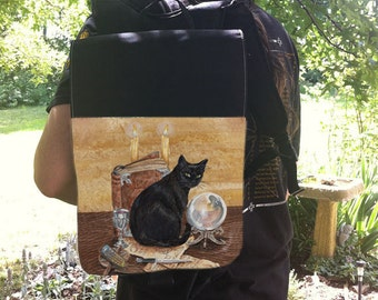 Magical Black Cat Art Backpack With Changeable Hand Pressed Flap