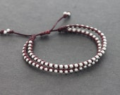Marron Beaded Double Strand Adjustable Bracelet