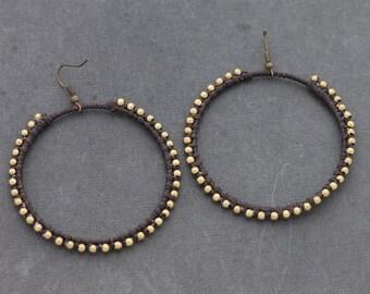 Brown Basic Hoop Woven Earrings