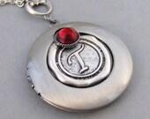 Wax Seal,Locket,Silver Locket,Monogram,Personalize,Mom Necklace,Antique Locket,Birthstone,Birthstone Locket, valleygirldesigns.