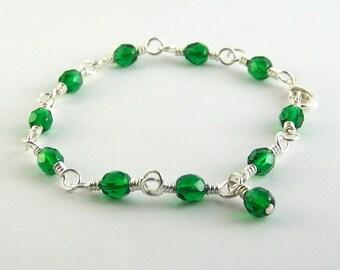 May Birthstone Bracelet Emerald Green