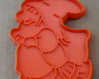 Hallmark Witch Riding Her Broom  Cookie Cutter - Orange Hard Plastic Cookie Mold - Detailed Halloween Witch Shape - Mint