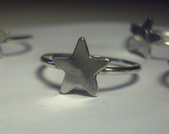 Star ring, cute, argentium sterling silver, 925 silver, band, stacking ring, handcrafted, smooth or hammered finish band