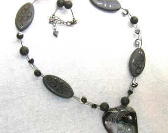 Swirled Black Agate Heart Necklace-Going in Circles- Matte and Shiny Black Agates Hearts, Faceted Rounds, Large Ovals, Black and White