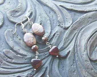 Red Tigers Eye Gemstone Heart Earrings -Mud Pie- Dark Red, Brown, Cream on Silver