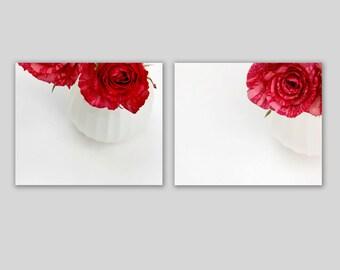 Red Rose Photographs set of 2 minimal Valentine's Day white space bedroom decor feminine 8x10 cottage chic