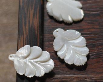 10pcs White Mother of Pearl Shell Carved Leaf Pendants 38mm Large 3D -V1151