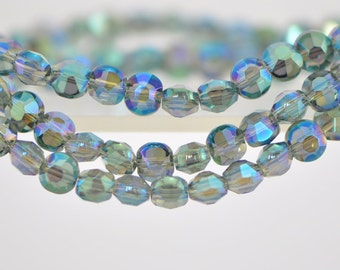 """Coin Crystal Glass Faceted Beads 6mm Sparkle Green - (TS62-7)/ 19"""" strand"""