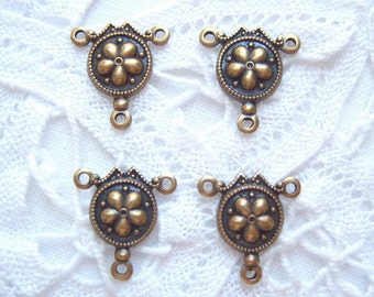 4 -Antiqued  brass 3 ring flower connector stampings - LD166