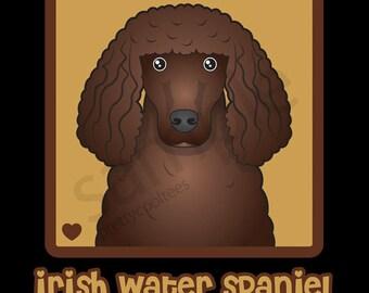 Irish Water Spaniel Cartoon Heart T-Shirt Tee - Men's, Women's Ladies, Short, Long Sleeve, Youth Kids