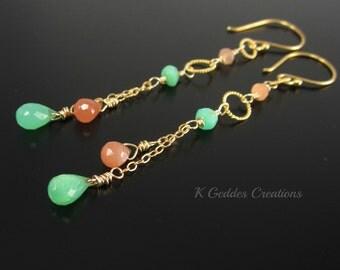 SALE! Peach Moonstone Earrings Chrysoprase Earrings Gold Filled Peach and Green Gemstone Earrings Long Gold Wire Wrapped Earrings