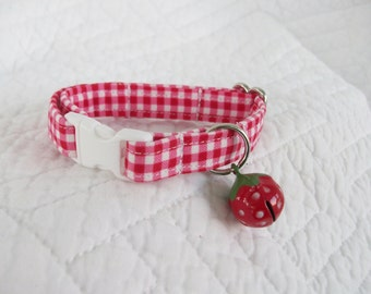 Red Ginglham  Cat Collar with bell  Cat  Breakaway Collar Custom Made