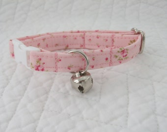 Shabby Chic  Cat Collar with bell   Wedding Cat  Breakaway Collar Custom Made