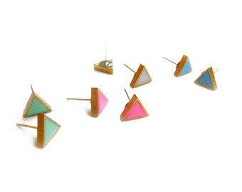 Minimalist Triangle Stud Earrings, Geometric Minimal Post Earrings in White, Mint, Blue, Pink