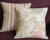 Throw Pillows Decorative Pillows Accent Pillows Cushion Covers Green Coral  Beige Flowers Stripes Combo Set 16 x 16