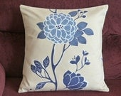Pillow Cover 20 x 20 Blue Beige White Floral Throw Pillow Covers Decorative Throw Pillows Accent Pillow Covers