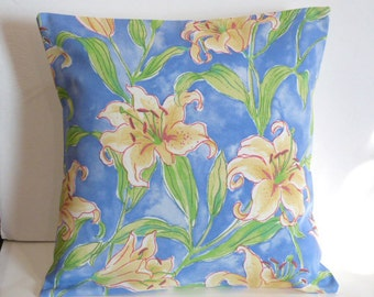 Throw Pillow Decorative Pillow Accent Pillow Cushion Covers Blue Green Yellow Ivory Lily Floral Indoor/Outdoor 16 x 16