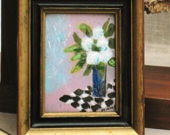 Copper Enamel , Copper Enamel Art , Framed Picture , Metal Art , Enameled Art , Floral Picture , Handmade , Flowers , Vintage Art