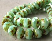 Czech Glass Beads 9 x 5mm Opaque Mint Green w/ Copper Brown Accents Faceted Rondelles - 12 Pieces