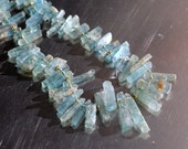 Stunning Aquamarine Rough Cut Shards on Necklace of Knotted Silk with Gold Accents & Toggle