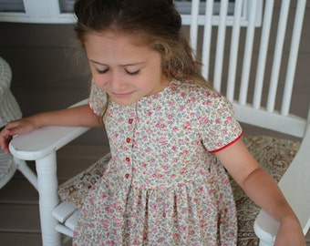Roses and Hearts Calico Summer Dress Sizes 2-10