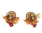 Charming Bee Earrings with Flowers and Orange Rhinestones Animal Jewelry