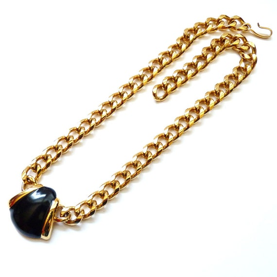 monet necklace gold tone chain black by vintageby1980sexcess