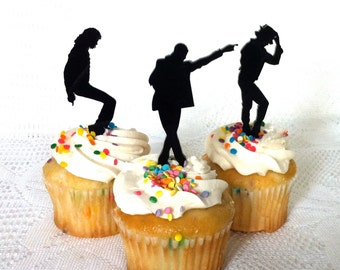 MADE In USA, Michael Jackson Cupcake Toppers Set of 3 Michael Jackson Cake Topper Michael Jackson Fan Michael Jackson Party Dancing Wedding