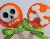 Spooky Skull and Crossbones Glycerin Lolly Soap for Halloween Party Favors or Birthday Gifts Orange Pink